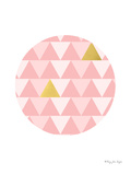 Gold And Pink Geometric Triangles In Circle Prints by Penny Jane