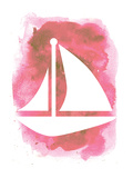 Watercolor Pink Sailboat Posters by  Jetty Printables
