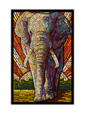 Elephant - Paper Mosaic Metalldrucke von  Lantern Press