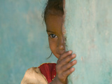 Portrait of Little Girl, Orissa, India Metal Print by Keren Su