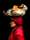A Woman with a Goose on Her Head Metal Print by Cristina Mittermeier
