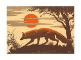 Woodcut of Fox Metal Print
