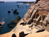Ramses Temple and the Nile Shoreline at Abu Simbel Metal Print by David Boyer