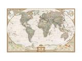 Maailman poliittinen kartta, tyylikäs Metallitaide tekijänä  National Geographic Maps