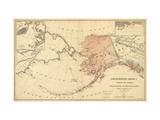 Alaska - Panoramic State Map Kunst på metal af  Lantern Press