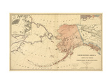 Alaska - Panoramic State Map Kunst op metaal van  Lantern Press