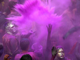 People Painted with Bright Colors Dance During the Festival of Holi on March 7, 2004 Metal Print by Anupam Nath