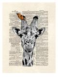 Butterfly Giraffe Print by Matt Dinniman