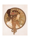 Byzantine Head of a Brunette; Tete Byzantine D'Une Brunette, C.1897 (Lithograph in Colours) Metal Print by Alphonse Mucha