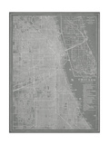 City Map of Chicago Metal Print by  Vision Studio