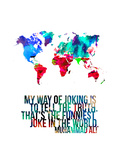 World Map Quote Muhammad Ali Metal Print by  NaxArt