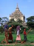Villagers Walking on Path Near Thatbyinnyu Old Bagan, Mandalay, Myanmar (Burma) Metal Print by Glenn Beanland