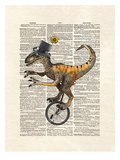 Raptor Unicycle Print by Matt Dinniman