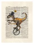 Raptor Unicycle Print by Matt Dinniman