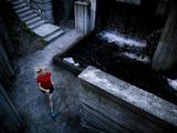 Lisa Eaton Goes for an Early Morning Run in Freeway Park - Seattle, Washington Art sur métal  par Dan Holz