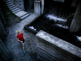 Lisa Eaton Goes for an Early Morning Run in Freeway Park - Seattle, Washington Metalldrucke von Dan Holz