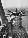 Sightseers Hanging Out Windows in Crown of Statue of Liberty with NJ Shore in the Background Metal Print by Margaret Bourke-White