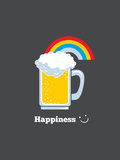 Happiness - Cute Beer Prints by  Boots