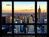 Window View, Empire State Building and One World Trade Center (1WTC) at Sunset, Manhattan, New York Art sur métal  par Philippe Hugonnard