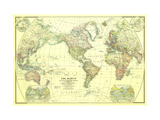 1922 World Map Metal Print by  National Geographic Maps