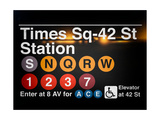 Subway Times Square - 42 Street Station - Subway Sign - Manhattan, New York City, USA Kunst op metaal van Philippe Hugonnard