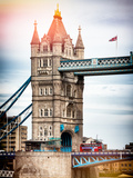 Tower Bridge with Red Bus in London - City of London - UK - England - United Kingdom - Europe Metal Print by Philippe Hugonnard