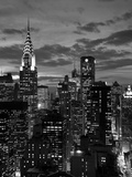Chrysler Building och silhuett av Midtown Manhattan, New York City, USA Fotografiskt tryck av Jon Arnold