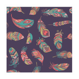 Bohemian Style Feathers Seamless Pattern Posters af Marish