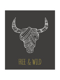Bohemian Style Bull Skull Poster Giclée-tryk af  Marish