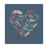 Bohemian Style Poster with Gypsy Colorful Feathers, Arranged in Heart Plakater af Marish