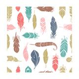 Bohemian Style Feathers Seamless Pattern Kunst af Marish