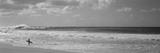 Surfer stående på stranden, nordkysten, Oahu, Hawaii, USA Fotografisk tryk af Panoramic Images