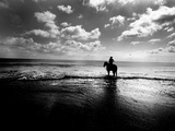Horseback Riding in the Tide Photographic Print by Jan Lakey
