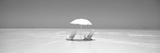 Beach, Ocean, Water, Parasol and Chairs, Maldives Fotografisk tryk af Panoramic Images,