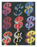 $9, 1982 (on black) Posters af Andy Warhol
