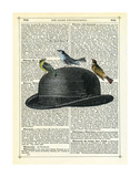 Bowler Hat with Birds Print by Marion Mcconaghie