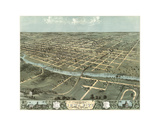 Bird's Eye View of Iowa City, Iowa, 1868 Prints by A. Ruger