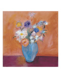 Blue Vase with Flowers Prints by Nancy Ortenstone