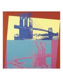 Brooklyn Bridge, 1983 (blue bridge/yellow background) Print by Andy Warhol