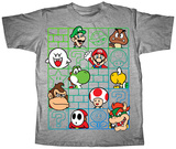 Youth: Super Mario Bros- Cast Wall T-Shirt