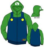 Zip Hoodie: Super Mario Bros- Luigi Costume Sweat à capuche avec fermeture à glissière