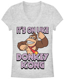 Juniors: Donkey Kong- Its On V-Neck T-shirts