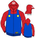 Zip Hoodie: Super Mario Bros- Mario Costume Sweat à capuche à fermeture à glissière