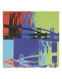Brooklyn Bridge, 1983 (orange, blue, lime) 高画質プリント : アンディ・ウォーホル
