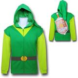 Zip Hoodie: Legend of Zelda- Link Costume Sweat à capuche avec fermeture à glissière