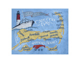 Cape Cod Beach Map Prints by  Zeke's Antique Signs
