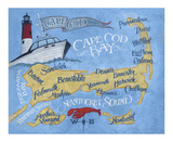 Cape Cod Beach Map Art by  Zeke's Antique Signs
