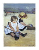 Children Playing on the Beach Poster by Mary Cassatt