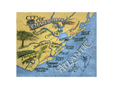 Charleston, South Carolina Beach Map Posters by  Zeke's Antique Signs