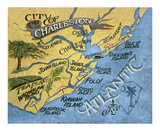 Charleston, South Carolina Beach Map Posters af Zeke's Antique Signs